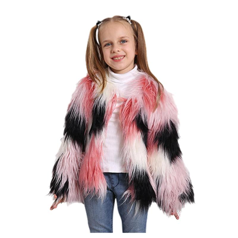 Bright Pink Faux Fur Fluffy Furry Winter Girls Kids Childs Jacket Coat 2-8 Years