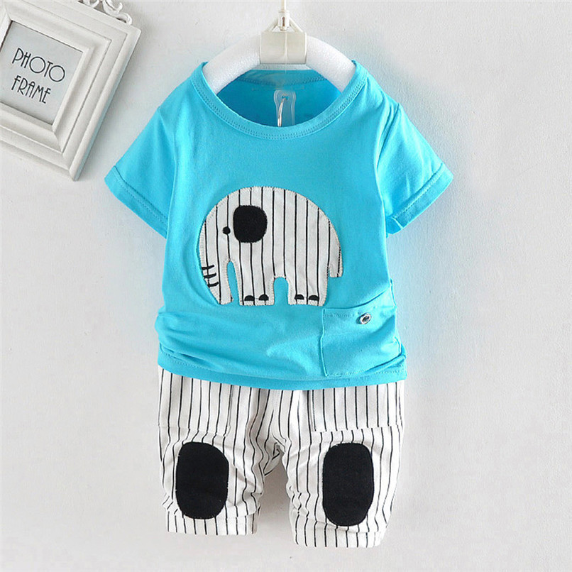 2PCS Baby Boy Sets Toddler Infant Baby Boy Short Sleeve Cartoon Elephant T-shirt Tops+Striped Pants Sets Baby Boy Clothes M8Y18 (14)