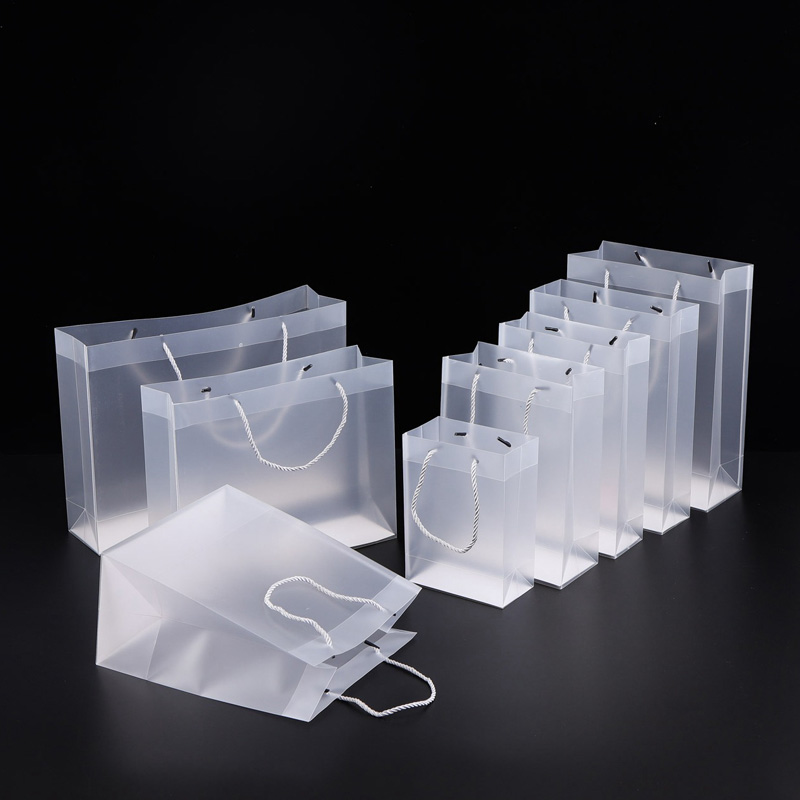 8 Size Frosted PVC plastic gift bags with handles waterproof transparent PVC bag clear handbag party favors bag custom logo LX1383