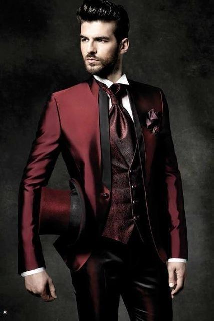 2017 High Quality One Button Dark Red Groom Tuxedos Groomsmen Mens Wedding Suits Prom Bridegroom Jacket+Pants+Vest+Tie C18122501