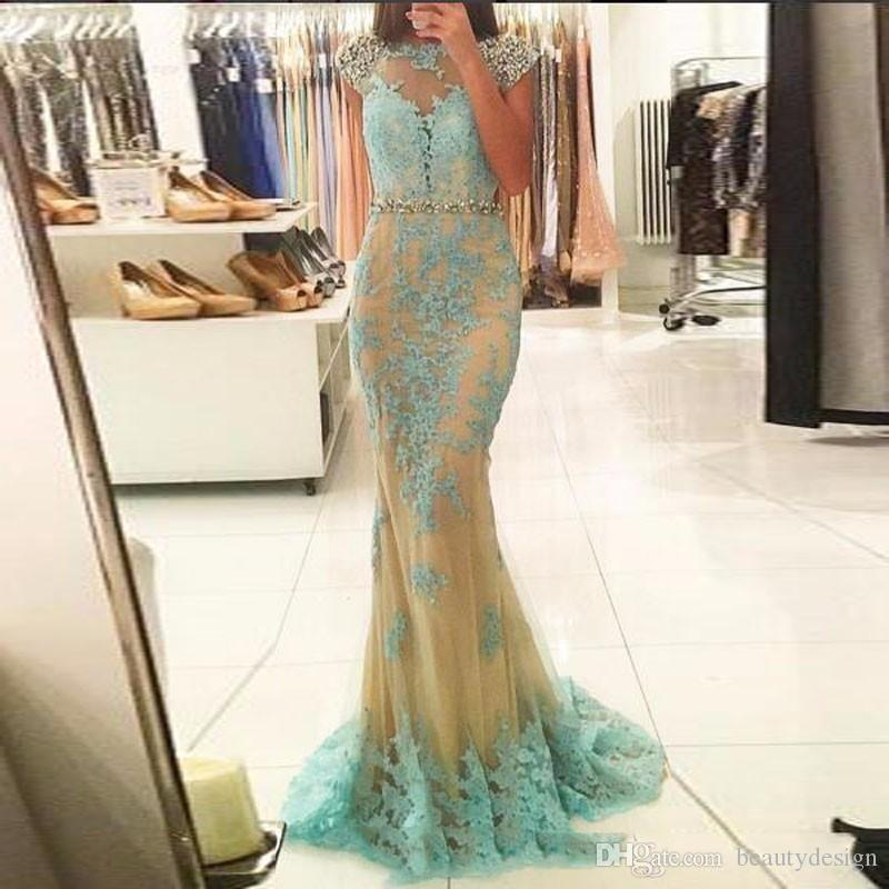 Sexy O-Neck Tulle With Applique Long Evening Dresses 2018 Popular For Women Cap Sleeve Mermaid Prom Party Gowns In Formal