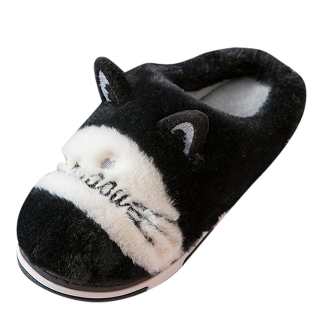 1Winter Women Home Slippers Cartoon Cat Warm Shoes Women Flats Faux Fur Slides Not-slip Casual Shoes Floor Slippers