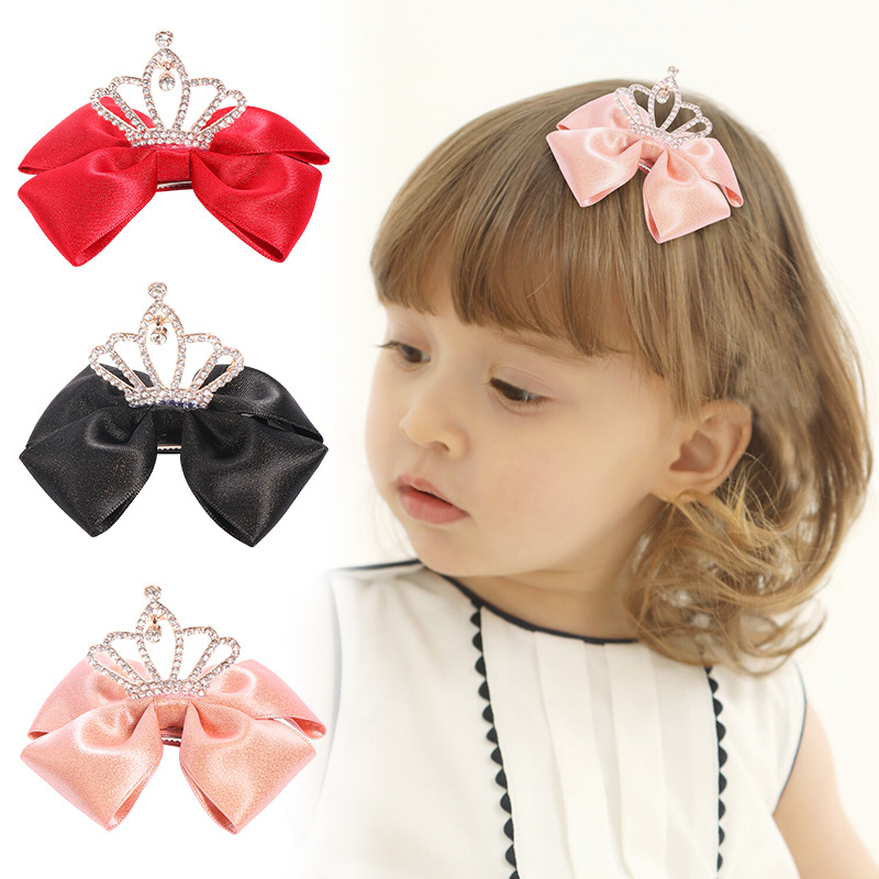 Süße Kinder Mädchen Rosa Haarschleife Haarspange Set mit Ribbon Halter