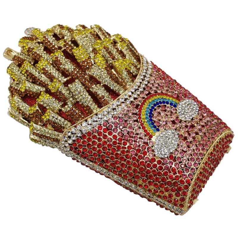 Wedding Party Bridal Mini Handbag Glitter French Fry Fries Rainbow Clutch Evening Bag Shoulder Bags Purse for Women Girls