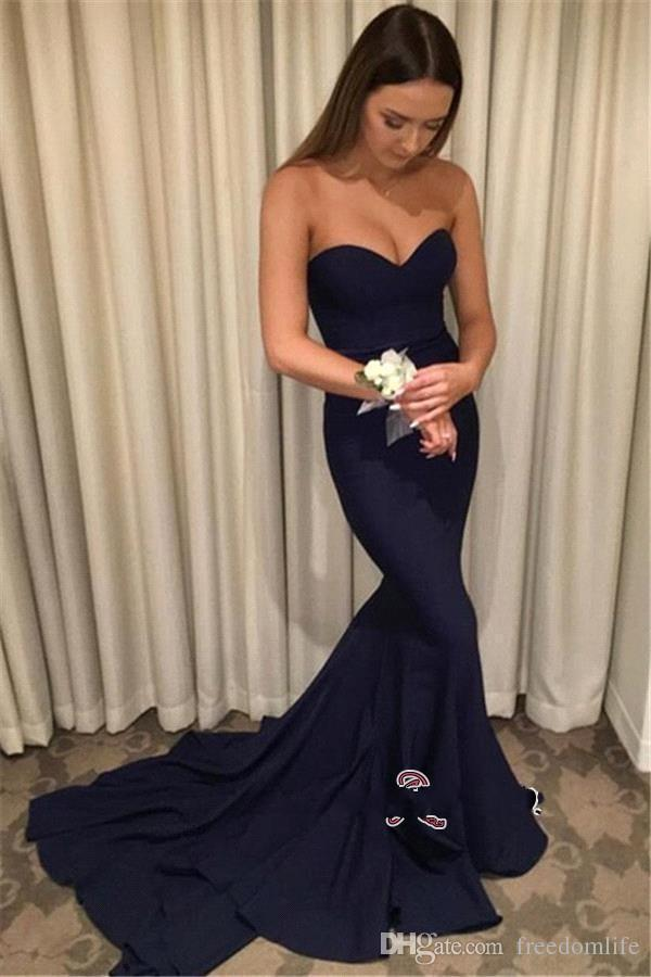 Cheap Navy Blue Prom Dresses Long Sweetheart Backless Mermaid Evening Dress Party Stain Court Train Bridesmaid Gowns
