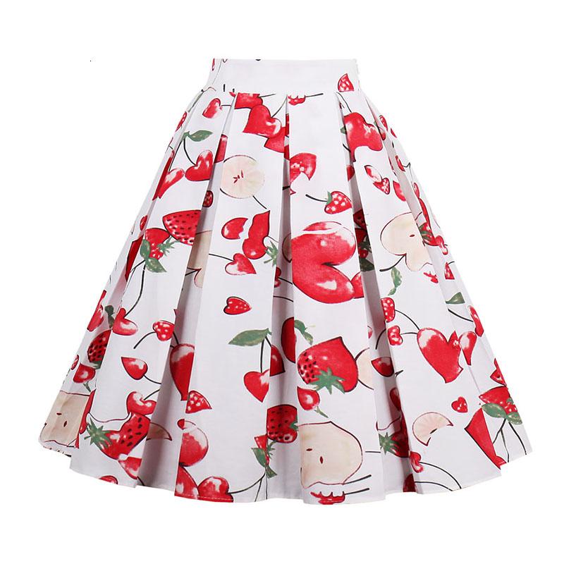 Kostlish Retro Print Flower Summer Skirts Womens High Waist Vintage Skirt Elegant A-Line Midi Women Skirt Plus Size XXL 22 (5)