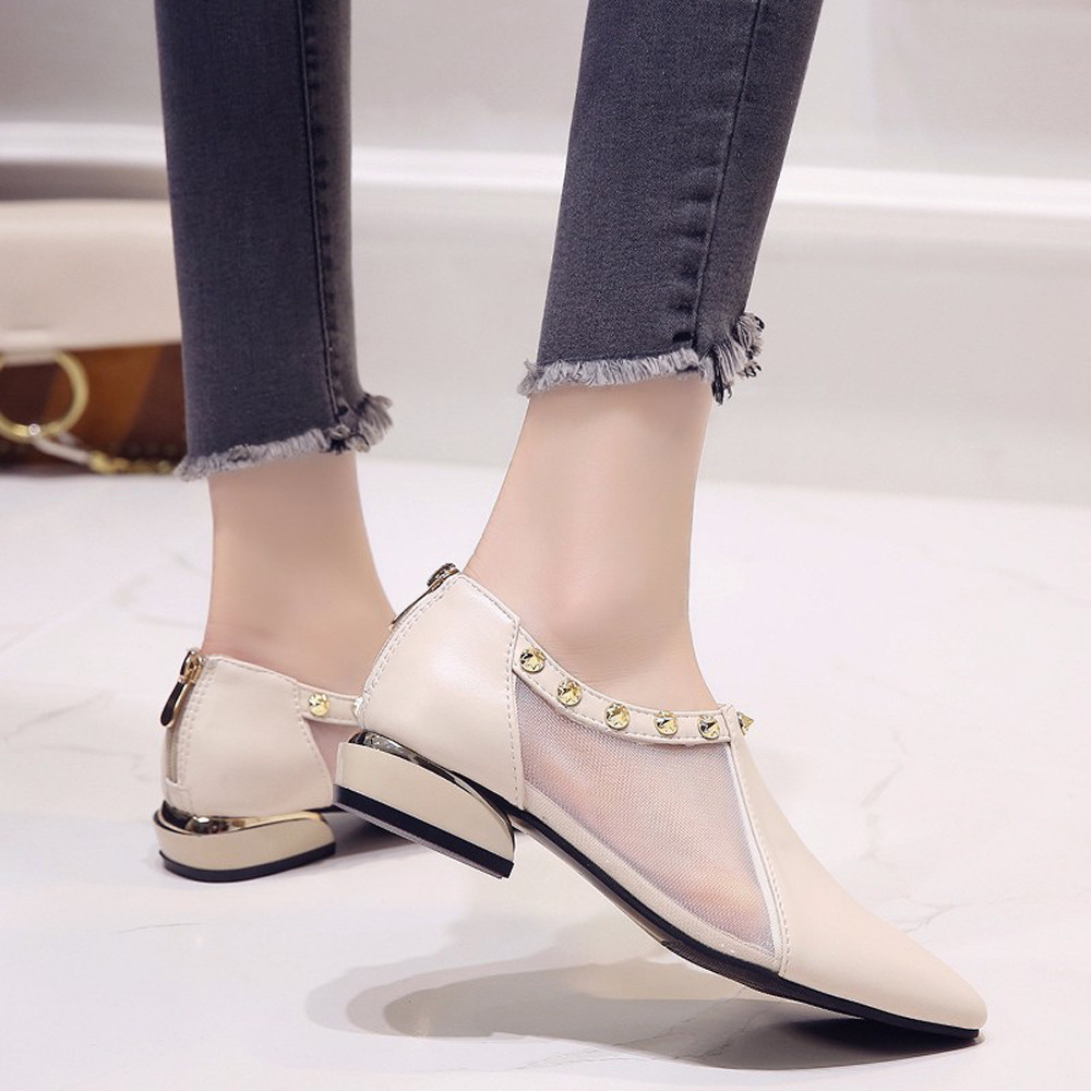 Designer Dress Shoes Hot sale Women Shallow Zipper Rivets Low Heel Mesh Party Pointed Single for dropshipping