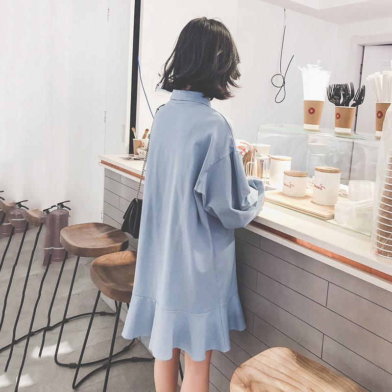 Love2019 Clothes Pattern Suit-dress Korean First Love Restore Ancient Ways Dress Woman Spring Long Lotus Leaf Edge Shirt Skirt