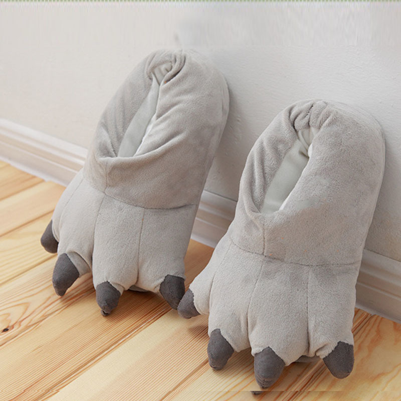 Soft-Animal-Paw-Unisex-Slippers-Cartoon-Character-Cosplay-Monster-Claws-Slippers-Plush-Winter-Warm-Home-Indoor