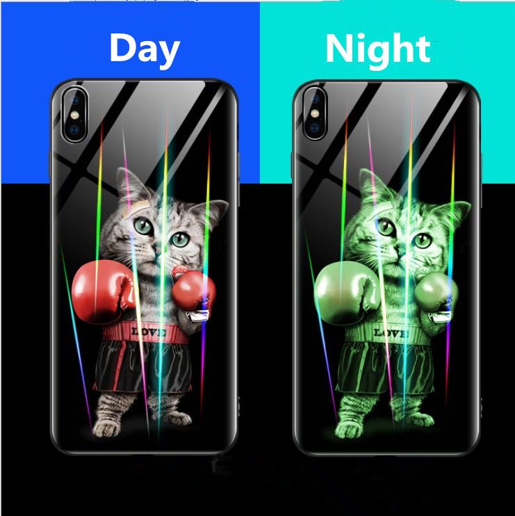 Nachtleuchtende leuchtende laser aurora männer frauen telefon case für iphone x xs max xr telefonabdeckung für iphone 6 7 8 plus