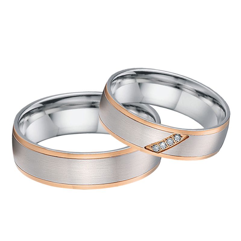 Custom Couple Rings Men Unique rose gold color titanium jewelry handmade bridal engagement wedding Rings for Women (3)