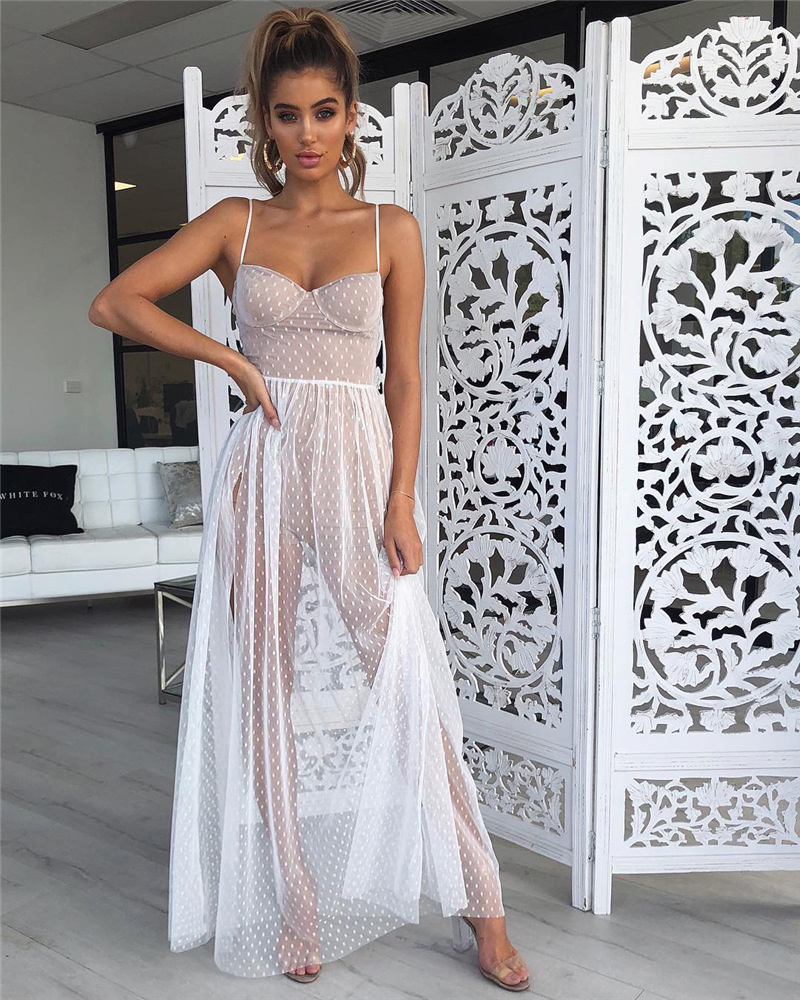 Forefair women long mesh dress elegant black white sleeveless maxi party dresses 2019 Swimwear summer beach dress (12)