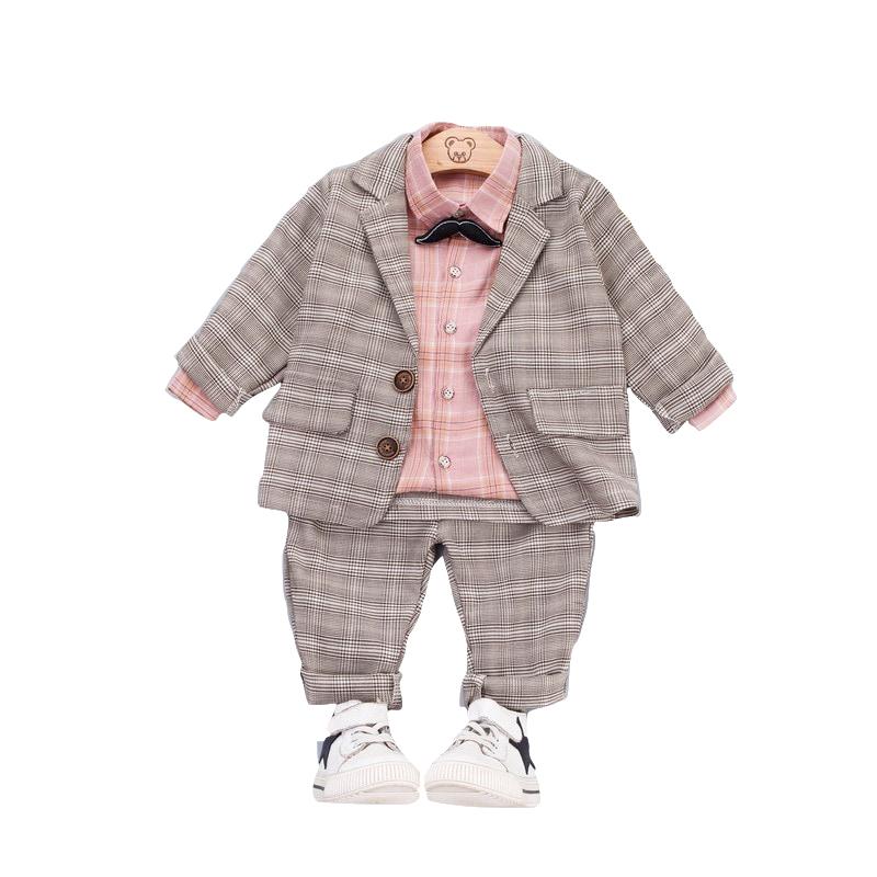 Bebek Erkek Giyim Erkek Çocuk Takım Elbise beyefendi Papyon Tarzı Ekose Mont Gömlek Pantolon 3 Adet / takım Çocuklar Bebek Giysileri Eşofman