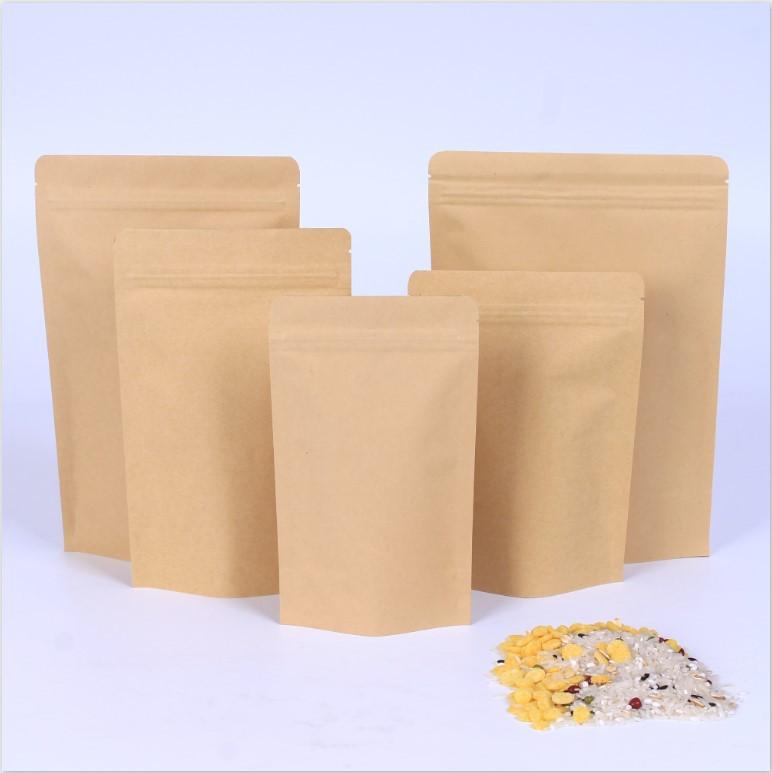100X Kraft Paper Stand up Zipper Pouches Coffee Bags Pouches Aluminium Foil Bag