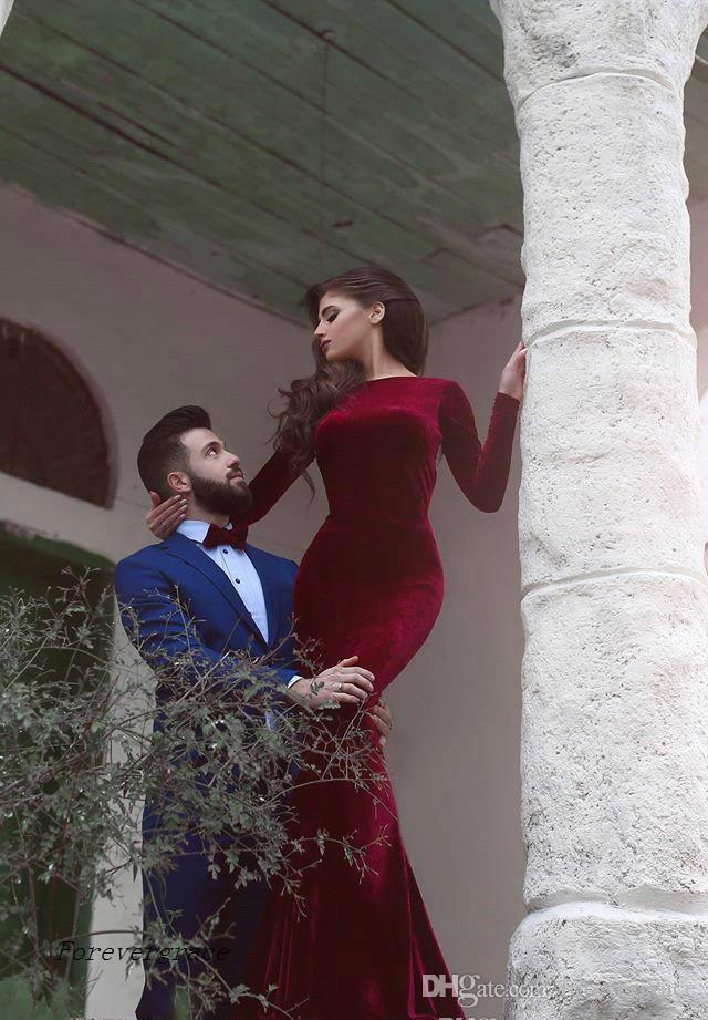 2017 New Burgundy Dubai Long Sleeves Prom Dress Cheap Velvet Arabic Formal Holidays Wear Graduation Evening Party Gown Custom Made Plus Size