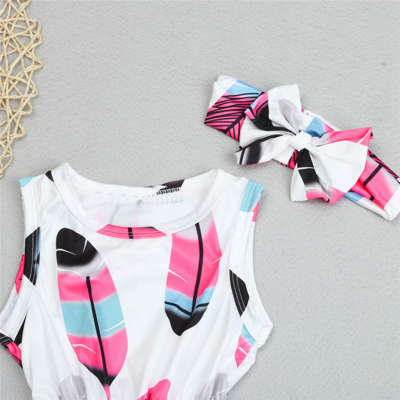 2PCS Summer Babys Romper Infant Kids Girls Sleeveless Tassel Feather Romper Jumpsuit+Headband NDA84L18 (3)