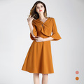 New 2018 fashion Summer Plus Size XXL Office dress was thin lapel Slim-fit sleeves Pleated cotton dress Big long