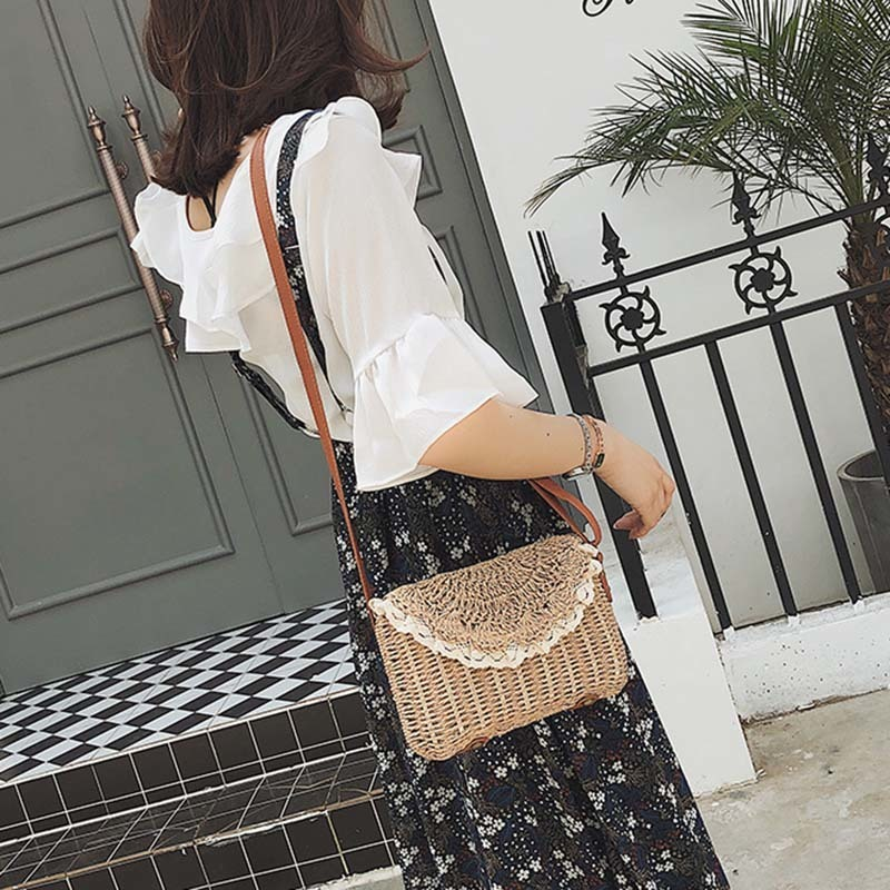 Women Lace Straw Bags INS Popular Female Holiday Handbag Summer Hot Lady Weave Shoulder Bag Travel Beach Casual Bolsa SS3150 (17)