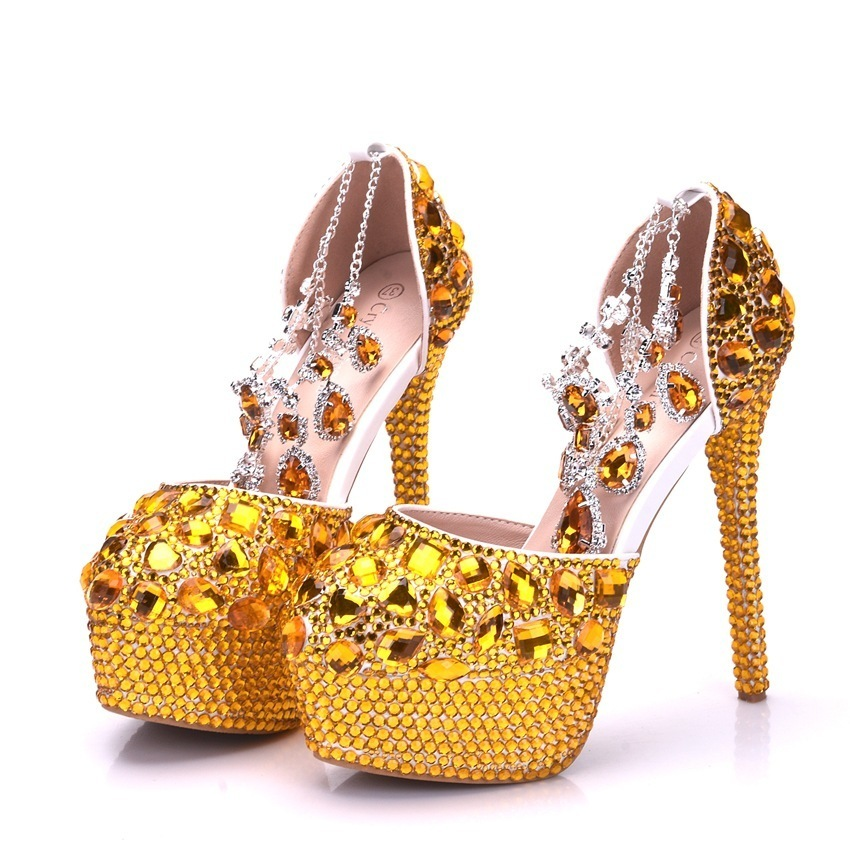 Handsome2019 Strass Golden Code Scarpe da sposa Scarpa singola Donna Completamente gioiello Cristallo Alto Con Piattaforma impermeabile One Word Port