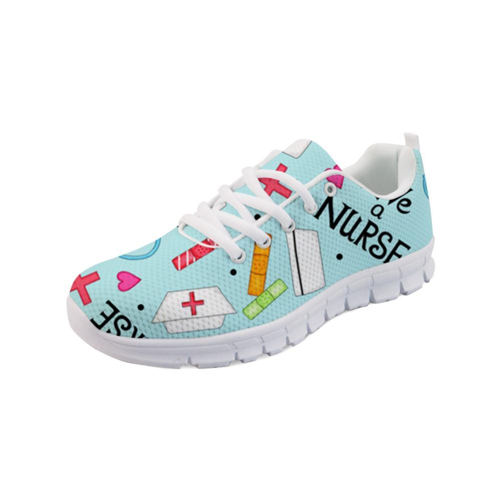 Noisydesigns Ladies Nursing Shoes Femmes Infirmière de bande dessinée Impression Baskets pour les femmes Chaussures à lacets Mesh Femmes Casual