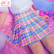 Harajuku-Plaid-Gefaltete-Rock-Hohe-Taille-Casual-Regenbogen-A-linie-Rock-Nette-Koreanische-Uniform-Weibliche-Kawaii