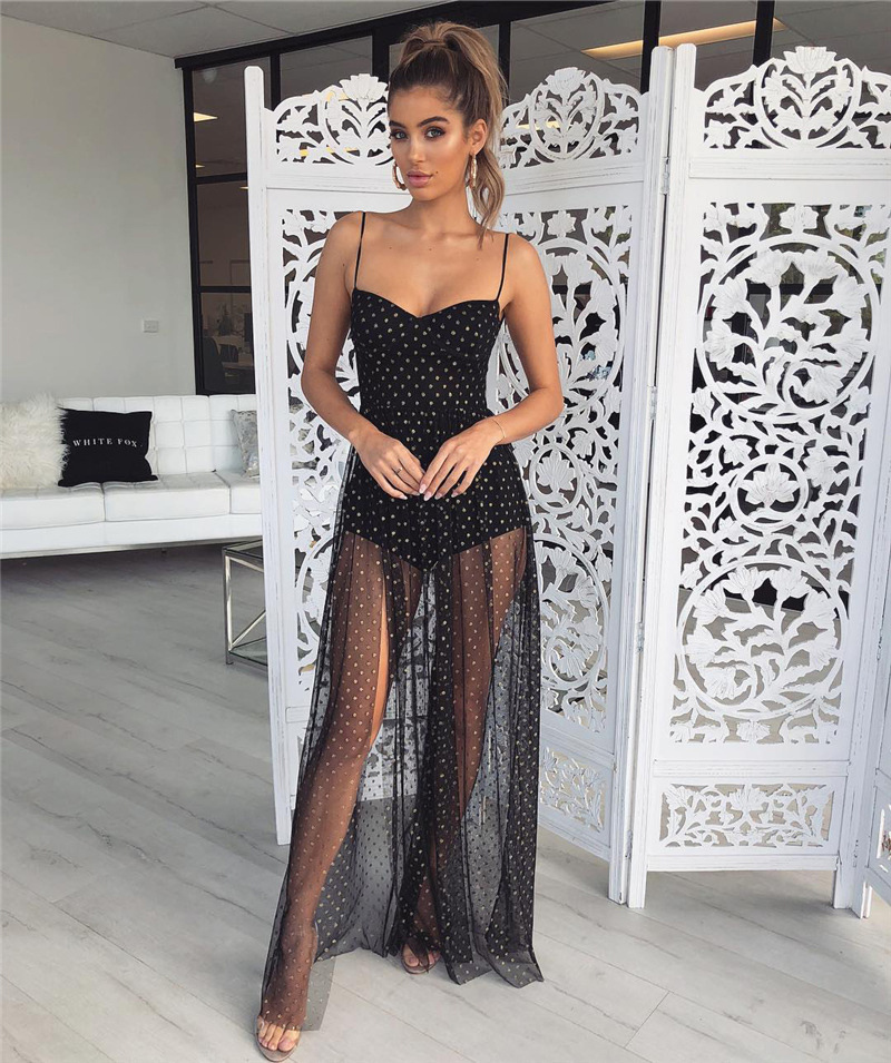 Forefair women long mesh dress elegant black white sleeveless maxi party dresses 2019 Swimwear summer beach dress (5)