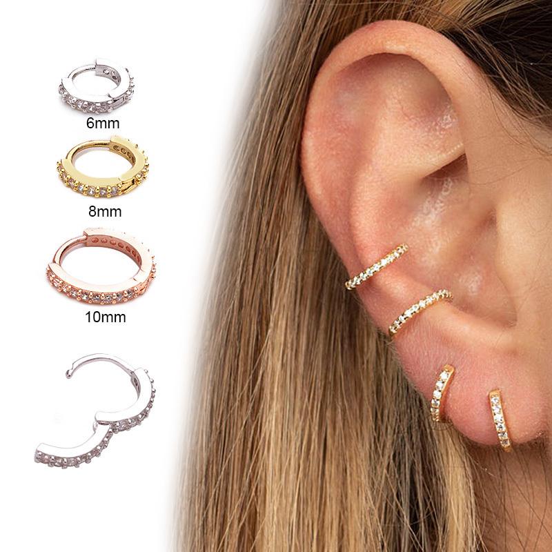 Nuevo oído nariz tabique Clicker Piercing perforado Simple Oro Daith con 5 Cristales