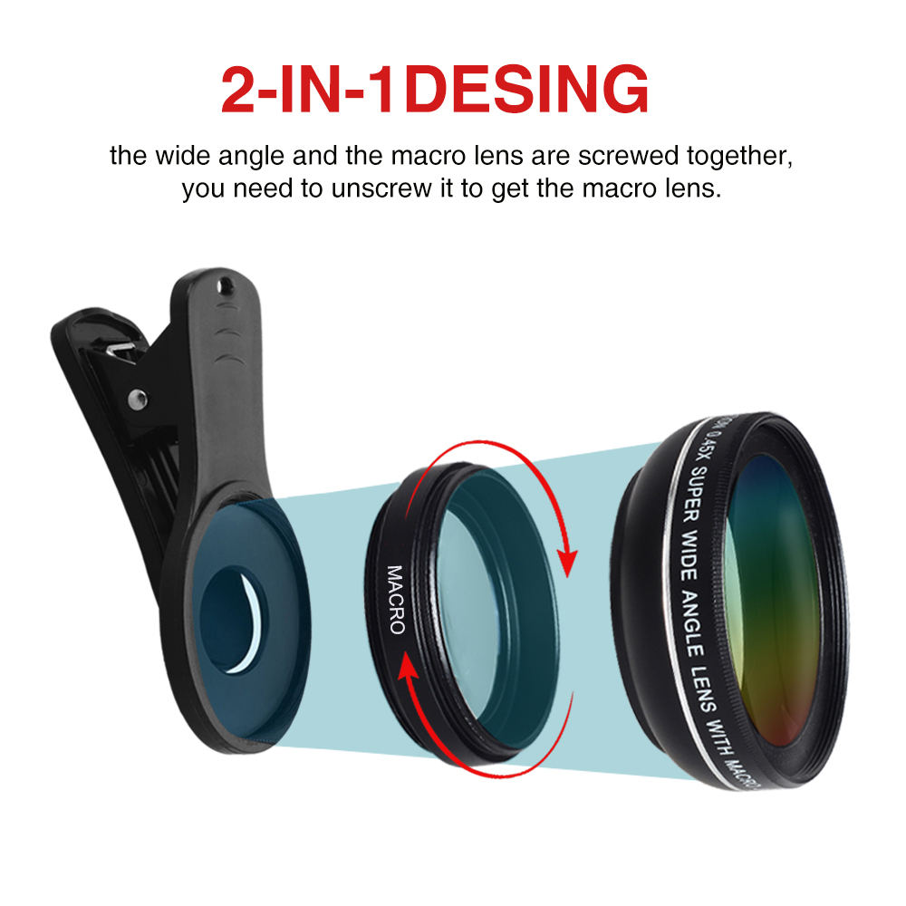Phone Lens kit 0.45x Super Wide Angle & 12.5x Super Macro Lens HD Camera Lentes for iPhone 6S 7 Xiaomi more cellphone