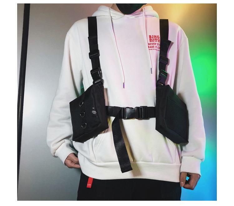 Homens Tactical Funcional Colete Hip-hop Streetwear Saco Arnês Peito Rig Saco Unisex Oxford Dois Bolsos Mulheres Cintura Fanny Pack 501 C19032701