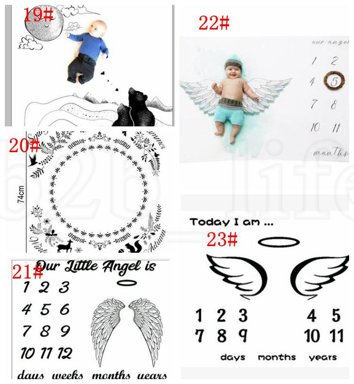100*100CM Infant Baby Milestone Blanket Photo Photography Prop Blankets Backdrop Boy Girl Photo Accessories 23 design KKA5803