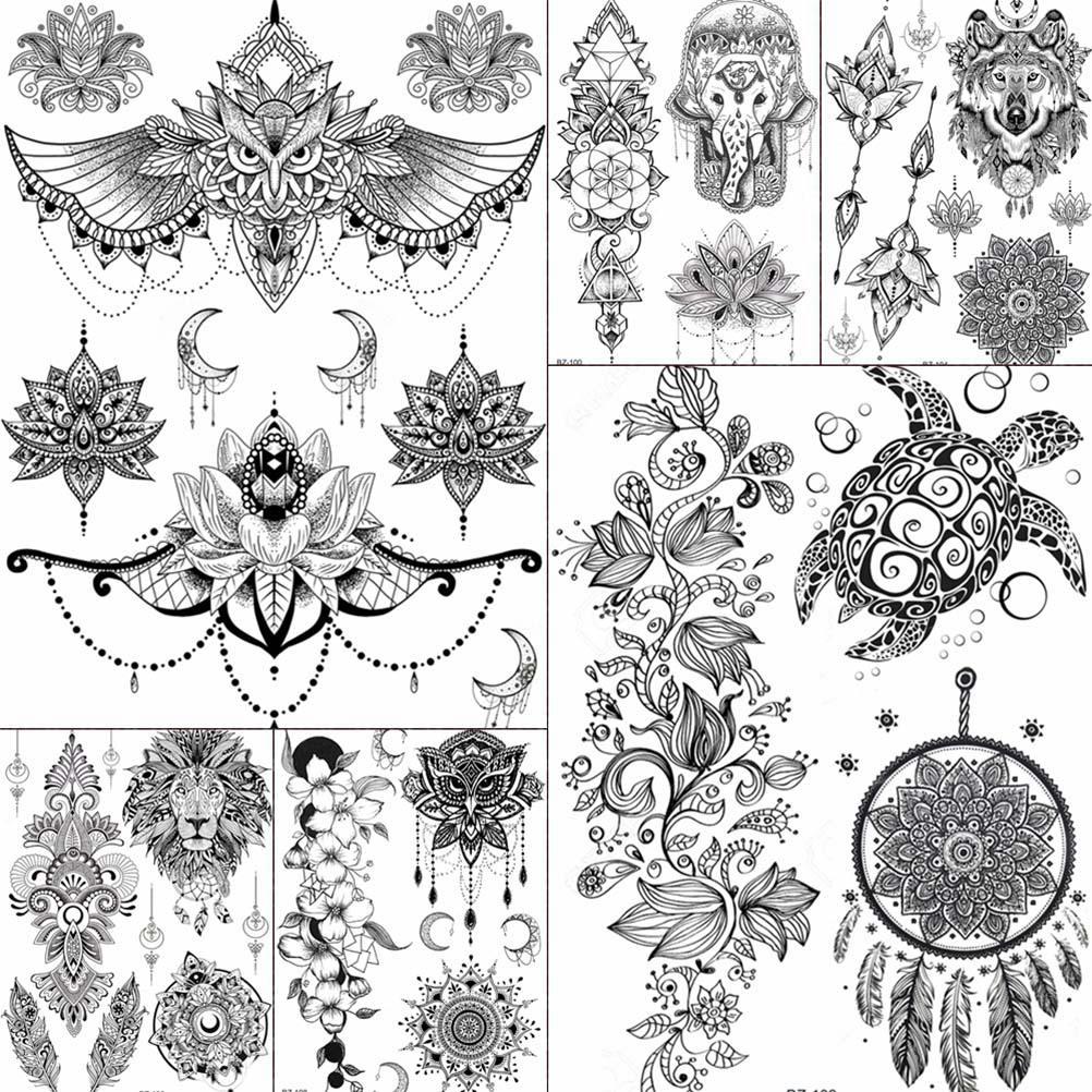Buho Tatuaje Mandala muchacha de las mujeres brazo grande búho tatuaje falso temporal mandala  flor de henna india tatoo pegatinas personalizadas tortuga negra tatuajes