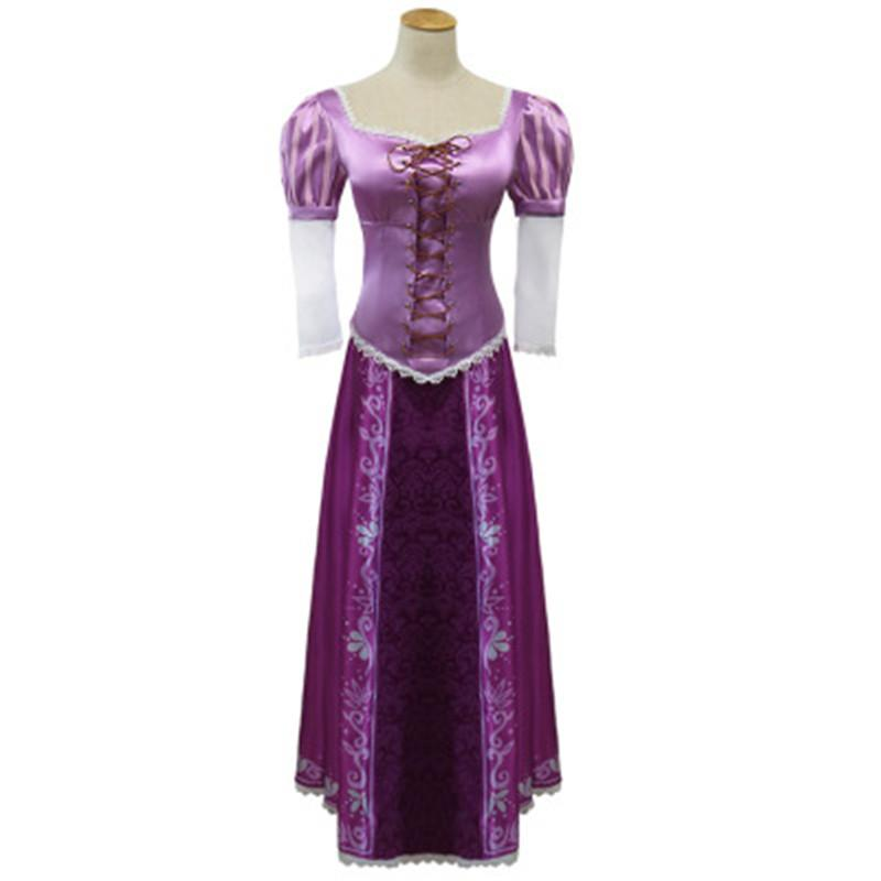 Adult Rapunzel Fancy Dress Cosplay Costume Princess Fairytale Tangled Ball Gown