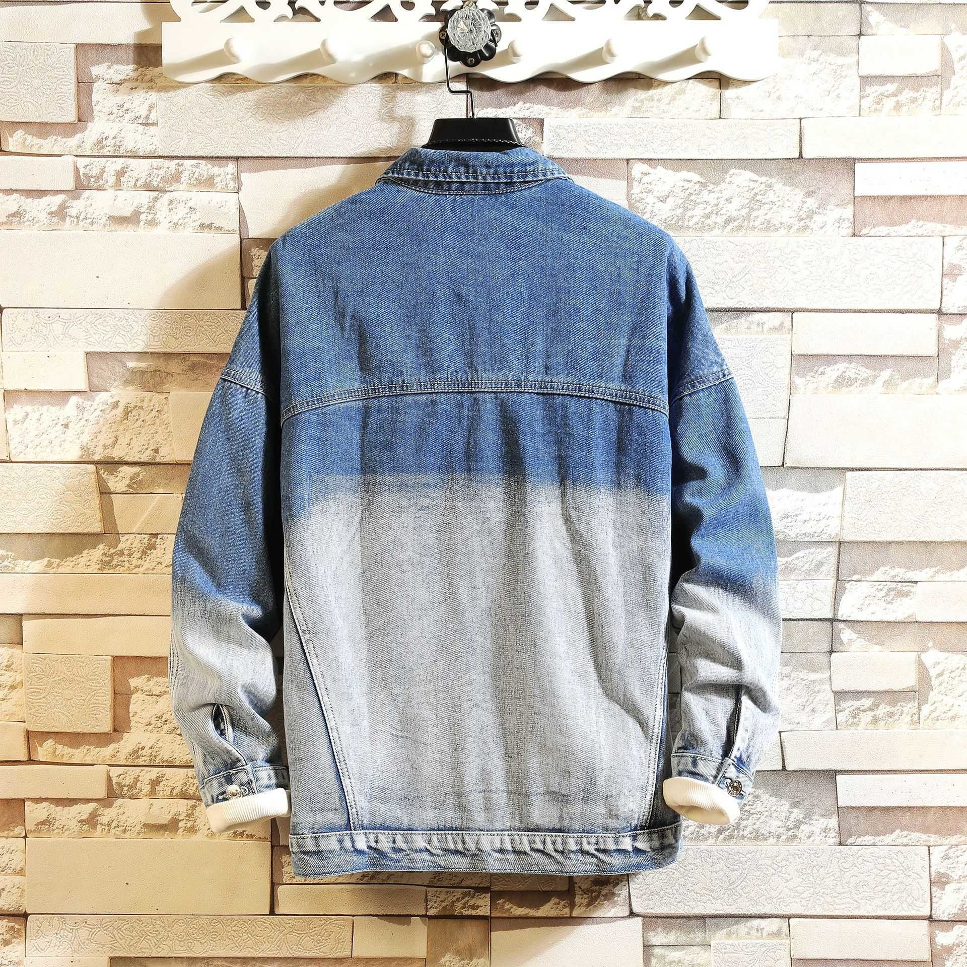 Jeans Herren Jacke Kontrastfarbe Paarabnutzung Herren Damen Hoodies Jeans Jacken Schlanke lässige Hoodies Streetwear Vintage Jean Jacken