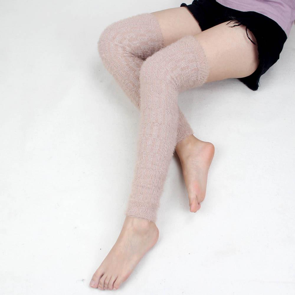 Casual Frauen Winter Warme Beinlinge Gestrickte Pelz Scoks Boot Manschetten Häkeln Lange Stiefel Socken Calentadores Mujer Polainas Trico 15