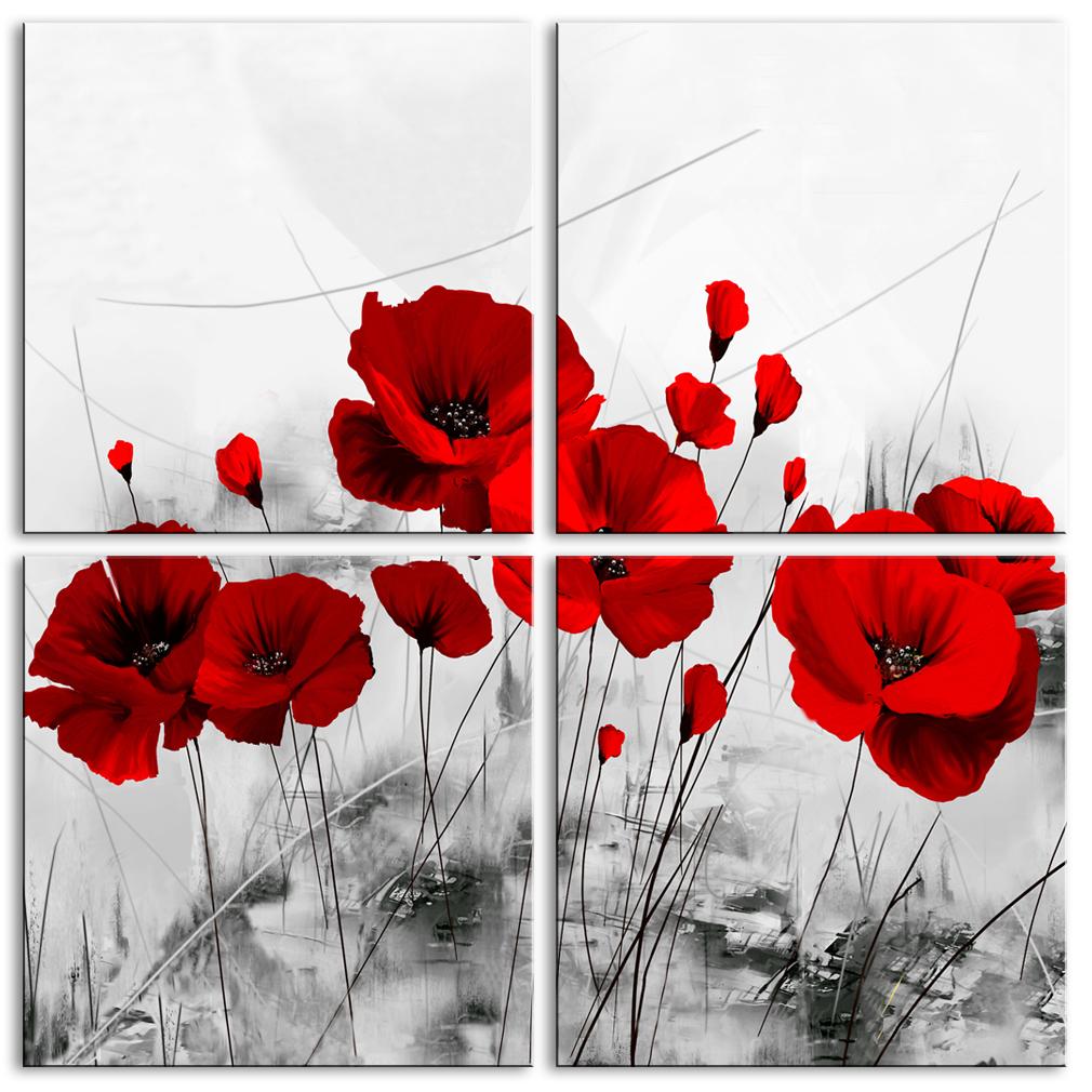 Salon Rouge Blanc Noir amosi art 4 panneaux impression sur toile mur art pavot rouge peinture  Étirer encadrée fleur image noir et blanc illustration pour salon décor