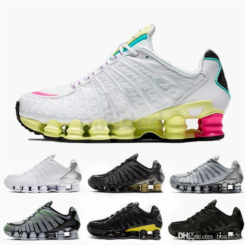 2019 New Shox TL Mens Women Running Shoes Triple Black White Rainbow Metallic Silver Air Cushion Trainers Designer Sport Sneakers off