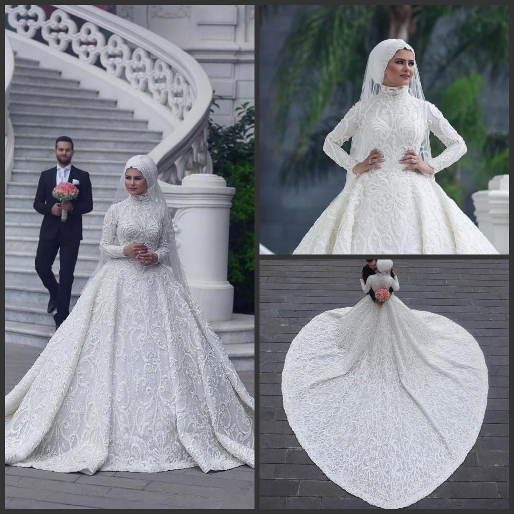 High Neck Long Sleeve Arabisch Hijab Muslim Brautkleider 17 Romantische  Appliques Spitze Weiße Brautkleider Gericht Zug abiti da sposa Gewohnheit