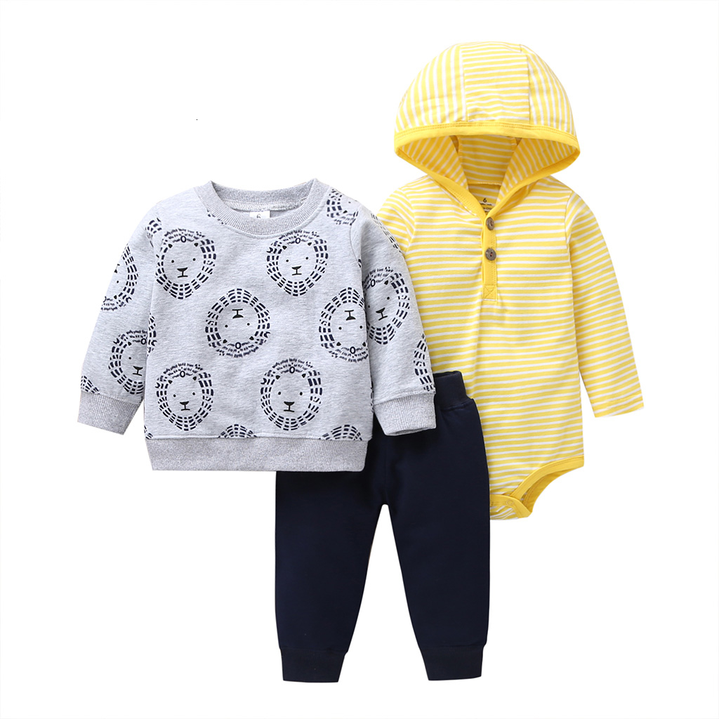 autumn outfit fashion baby boy set newborn clothes long sleeve Sweater+hooded bodysuit stripe+pants new born clothing 2019