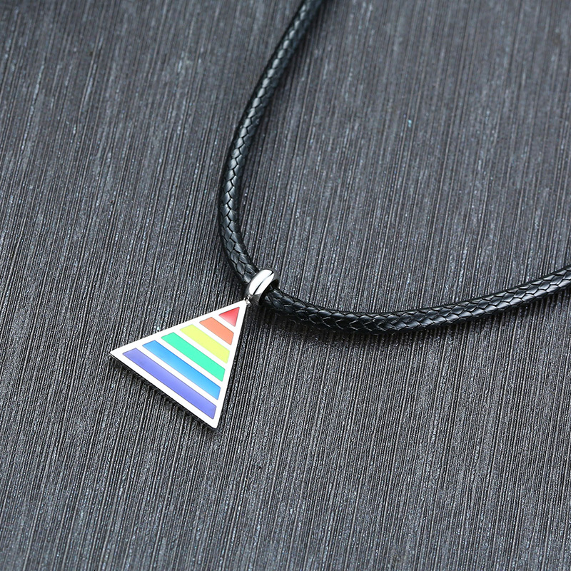 2020 Men Rainbow Gay Lesbian Lgbt Pride Triangle Pendant