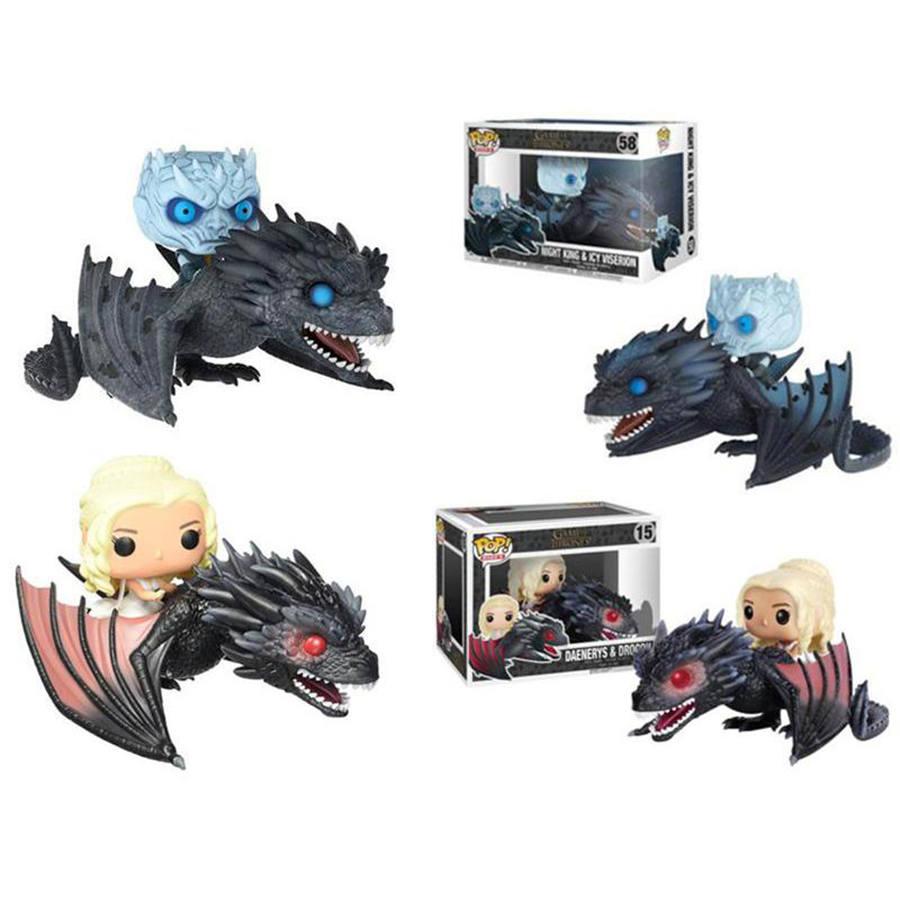 GAME OF THRONES POP Jon Snow Daenerys Targaryen Drago Nero Modello Giocattolo in PVC