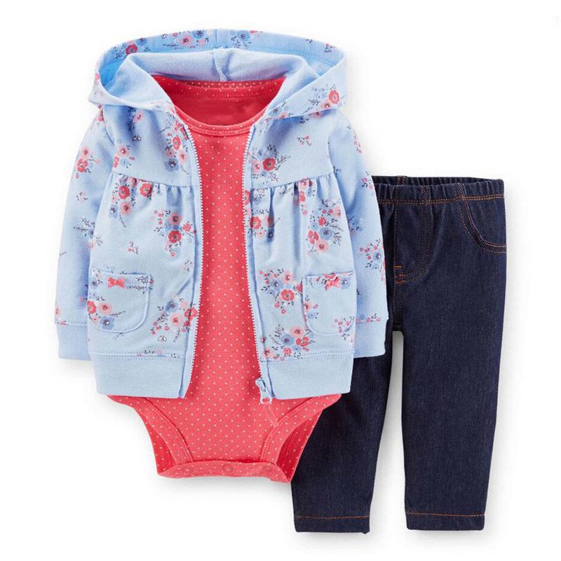 Yenidoğan Erkek Bebek Kız Giysileri Set Kapüşonlu Uzun Kollu Ceket Çiçek + bodysuits + pantolon, sonbahar Kış Bebek Yeni Doğan Kıyafet 2019 J190425