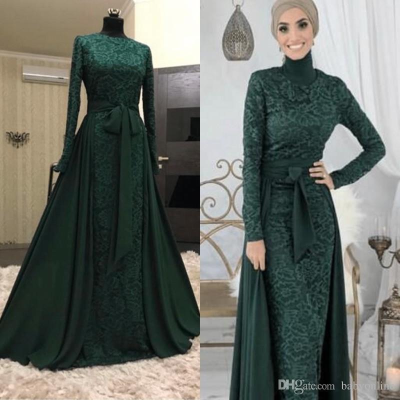 Dark Green Muslim Long Evening Dresses 2018 Arabic Long Sleeves Lace Hijab  Dresses With Detachable Skirt Robe De Soiree ba9600