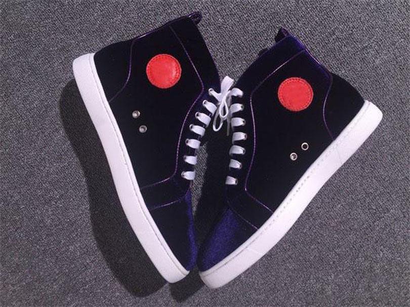 New Arrivals Couple Shoes Red Bottom Black Purple Velvets Suede High- top Shoes Men Red Soles Sneakers lace up casual shoes free shipping