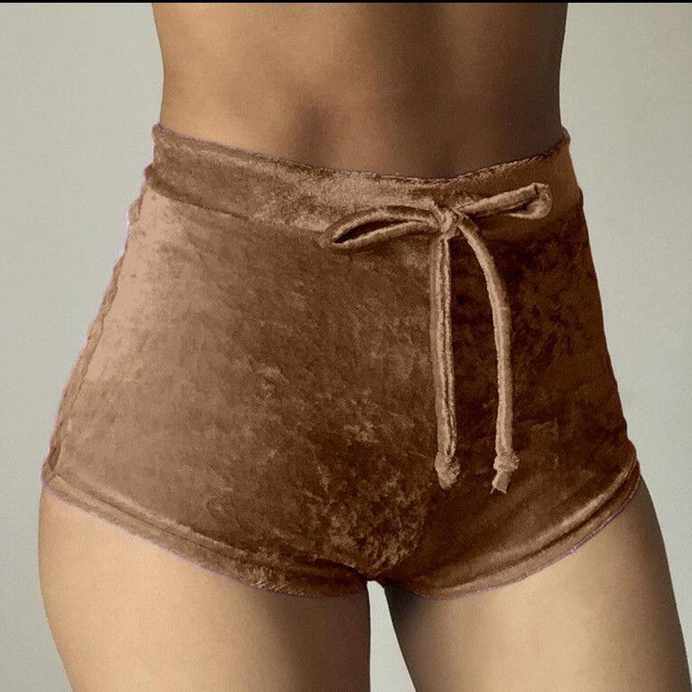 Ladies Casual Velvet Shorts High Waist Sports Short Pants Fashion Women Hot Pants Bottoms