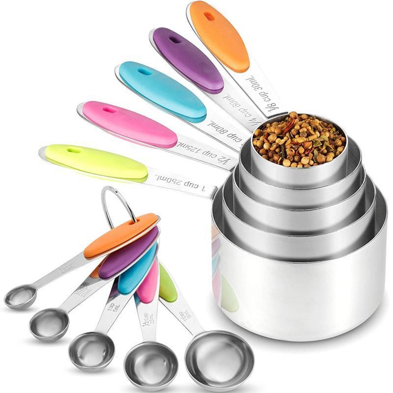 Silicone Souple Grip Measuring Tasses et cuillères-Lot de 10-Acier inoxydable