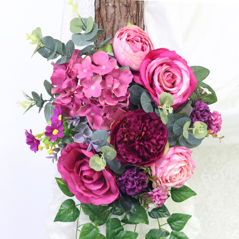 JAROWN Artificial Rose Flower Row Small Corner Flowers Simulation Silk Fake Flowers Wedding Decor Home Garland Decor Flores (10)