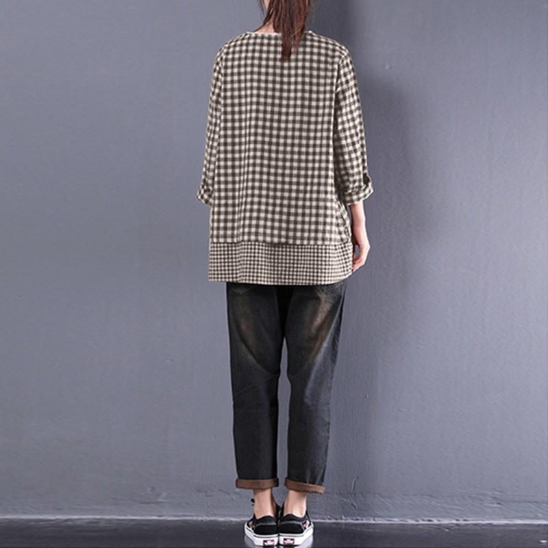 Zanzea 2019 Herbst Frauen Langarm Plaid Check Bluse Casual Lace Crochet Rüschen Baumwolle Leinen Shirt Vintage Arbeit Top Blusas Y19050501