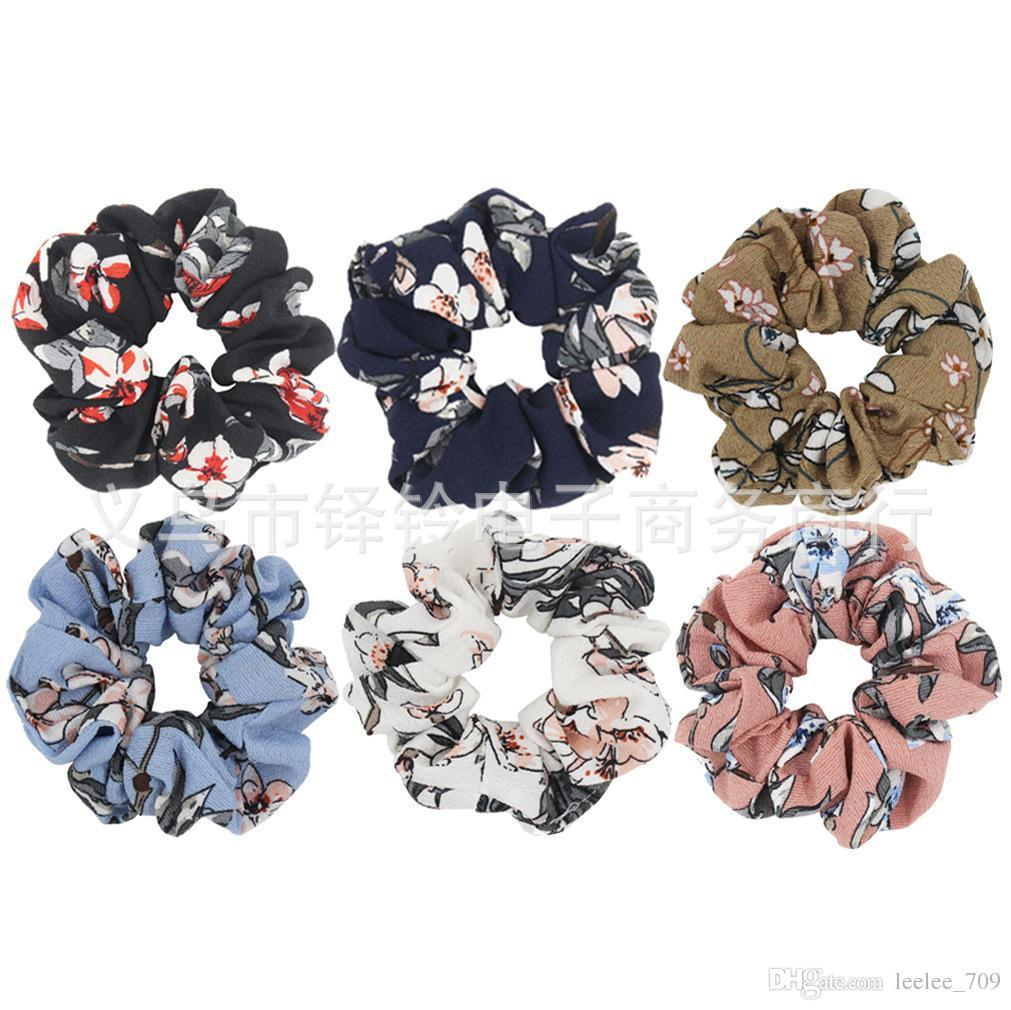 Women Girls Vintage Pomegranate Flower Elastic Ring Hair Ties Accessories Ponytail Holder Hairbands Rubber Band Scrunchies New