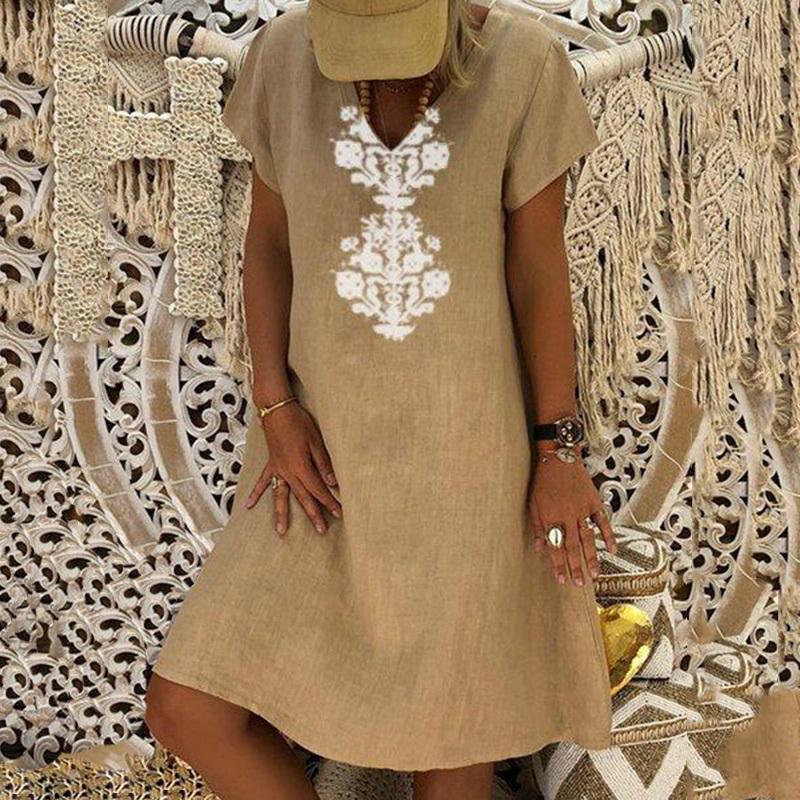 Women Dresses Knee Length Streetwear Fashion Summer Dress Women Plus Size 5XL Cotton Linen Dress Vintage Casual Vestidos Mujer 8