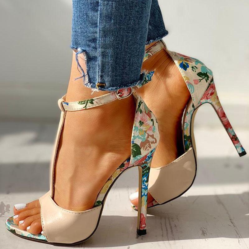 SWQZVT New thin heels women fish mouth open toe summer sexy party pumps women shoes 2020 fashion print vintage ladies sandals (1)
